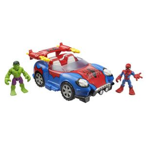 Marvel Super Hero Adventures Crime-Cruising Car with Spider-Man & Hulk