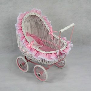 Isabella Wicker Doll Carriage Buggy Stroller
